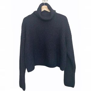 Limited Wool blend cropped high neck sweater